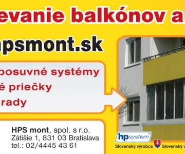 HPS mont spol. s r.o. Zasklievanie balkónov a lodžií, zimné záhrady, bazénové prekrytia, výroba deliacich priečok a prístreškov.