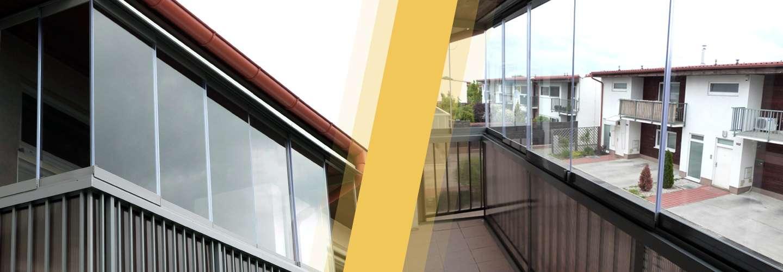 """Bezrámový posuvný systém """"BHP systém"""" - zasklievanie balkónov a lodžií"""